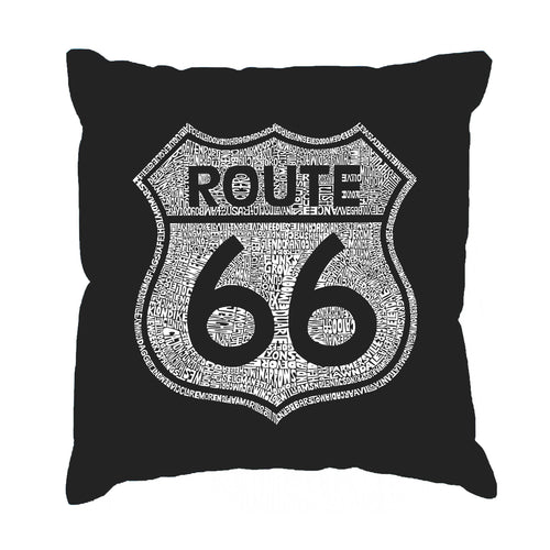 LA Pop Art Throw Pillow Cover - CITIES ALONG THE LEGENDARY ROUTE 66