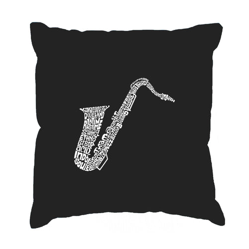 LA Pop Art Throw Pillow Cover - Sax