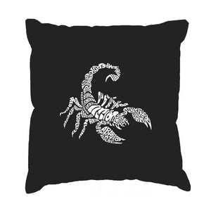 LA Pop Art  Throw Pillow Cover - Types of Scorpions