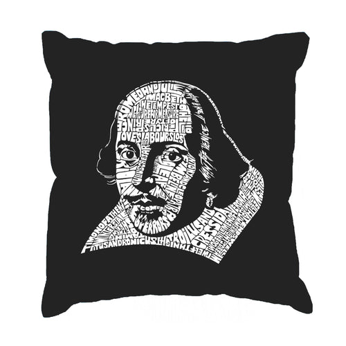 LA Pop Art Throw Pillow Cover - THE TITLES OF ALL OF WILLIAM SHAKESPEARE'S COMEDIES & TRAGEDIES