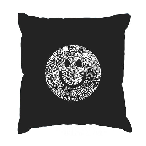 LA Pop Art Throw Pillow Cover - SMILE IN DIFFERENT LANGUAGES