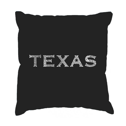 LA Pop Art Throw Pillow Cover - THE GREAT CITIES OF TEXAS