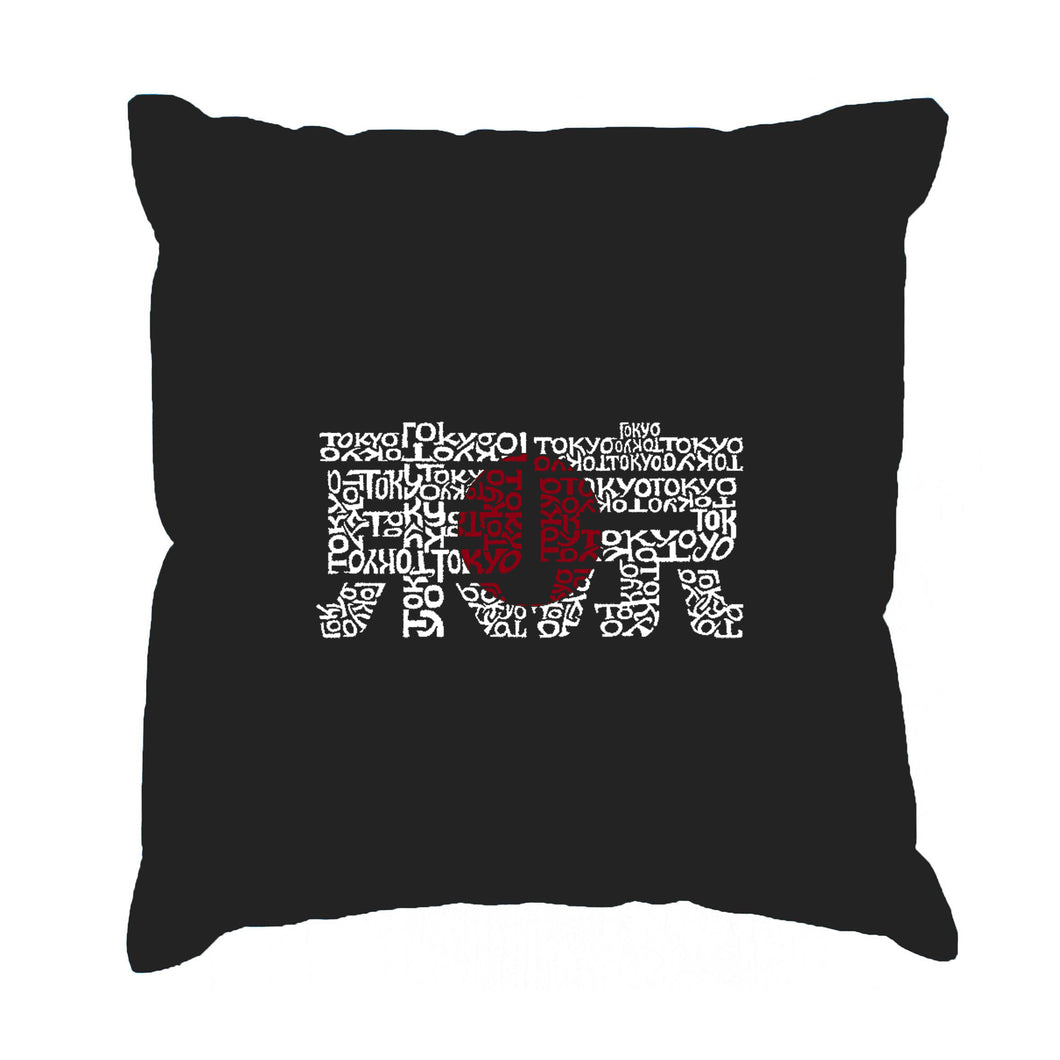 LA Pop Art Throw Pillow Cover - Tokyo Sun