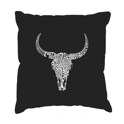 LA Pop Art Throw Pillow Cover - Texas Skull