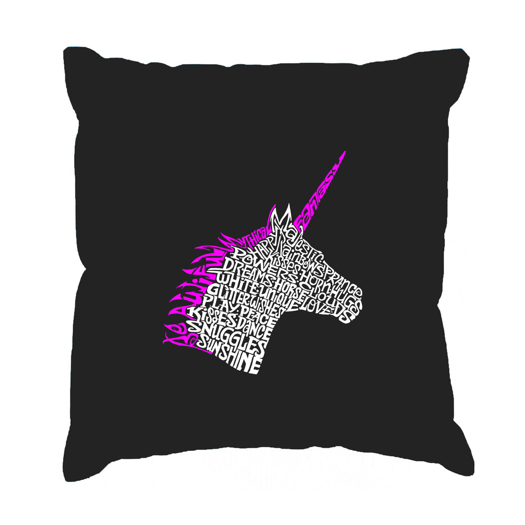 LA Pop Art Throw Pillow Cover - Unicorn