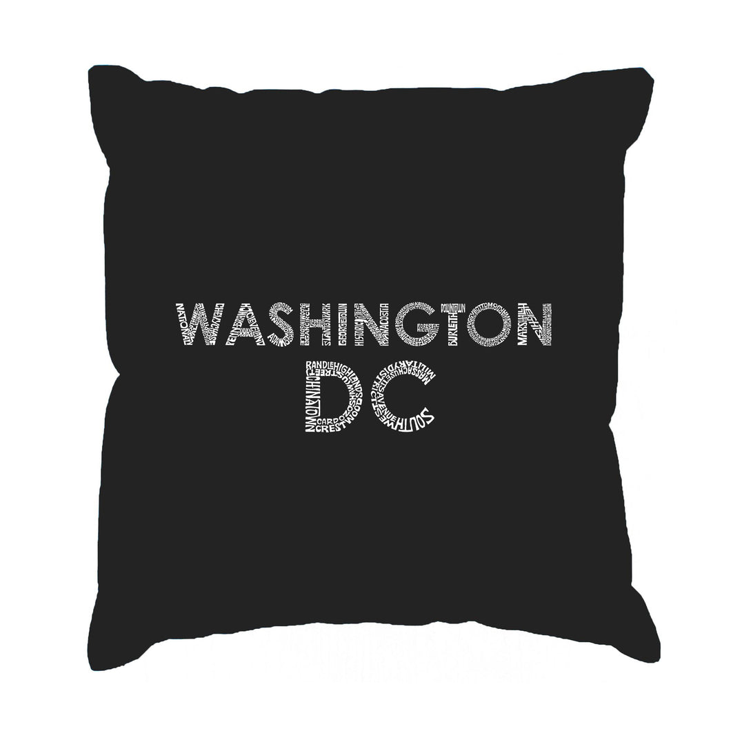 LA Pop Art Throw Pillow Cover - WASHINGTON DC NEIGHBORHOODS