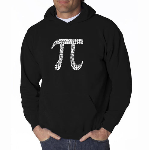 LA Pop Art Men's Word Art Hooded Sweatshirt - THE FIRST 100 DIGITS OF PI