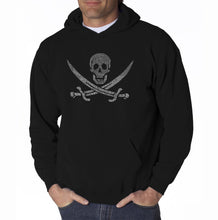 Load image into Gallery viewer, LA Pop Art Men's Word Art Hooded Sweatshirt - LYRICS TO A LEGENDARY PIRATE SONG
