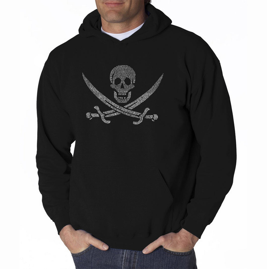 LA Pop Art Men's Word Art Hooded Sweatshirt - LYRICS TO A LEGENDARY PIRATE SONG