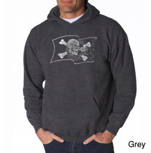 Load image into Gallery viewer, LA Pop Art Men's Word Art Hooded Sweatshirt - FAMOUS PIRATE CAPTAINS AND SHIPS