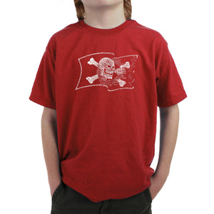 LA Pop Art Boy's Word Art T-shirt - FAMOUS PIRATE CAPTAINS AND SHIPS