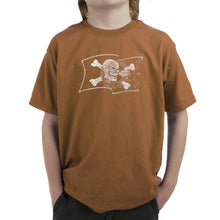 Load image into Gallery viewer, LA Pop Art Boy's Word Art T-shirt - FAMOUS PIRATE CAPTAINS AND SHIPS