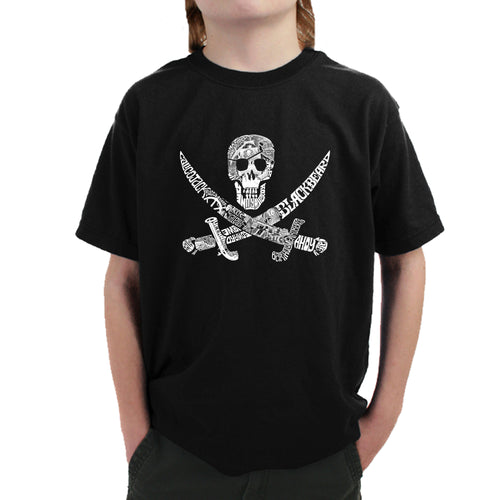 LA Pop Art Boy's Word Art T-shirt - PIRATE CAPTAINS, SHIPS AND IMAGERY