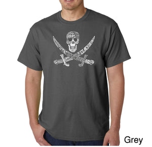 LA Pop Art Men's Word Art T-shirt - PIRATE CAPTAINS, SHIPS AND IMAGERY