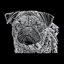 Load image into Gallery viewer, LA Pop Art Men's Raglan Baseball Word Art T-shirt - Pug Face