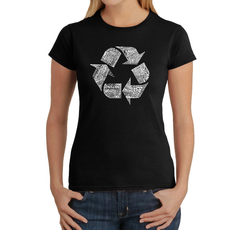 LA Pop Art Women's Word Art T-Shirt - 86 RECYCLABLE PRODUCTS