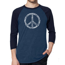 Load image into Gallery viewer, LA Pop Art Men's Raglan Baseball Word Art T-shirt - THE WORD PEACE IN 77 LANGUAGES