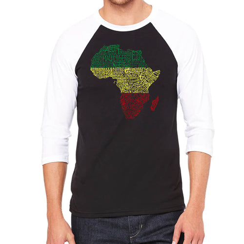 LA Pop Art Men's Raglan Baseball Word Art T-shirt - Countries in Africa