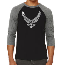 Load image into Gallery viewer, LA Pop Art Men's Raglan Baseball Word Art T-shirt - LYRICS TO THE AIR FORCE SONG