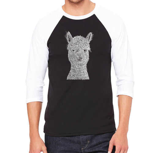 LA Pop Art Men's Raglan Baseball Word Art T-shirt - Alpaca