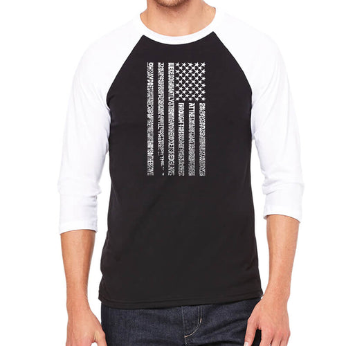 LA Pop Art Men's Raglan Baseball Word Art T-shirt - National Anthem Flag