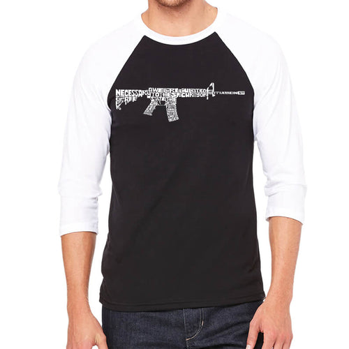 LA Pop Art Men's Raglan Baseball Word Art T-shirt - AR15 2nd Amendment Word Art