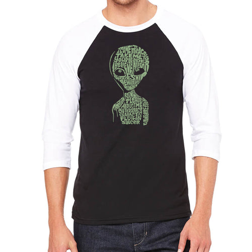 LA Pop Art Men's Raglan Baseball Word Art T-shirt - Alien