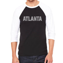 Load image into Gallery viewer, LA Pop Art Men's Raglan Baseball Word Art T-shirt - ATLANTA NEIGHBORHOODS