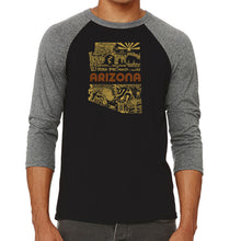 Load image into Gallery viewer, LA Pop Art Men's Raglan Baseball Word Art T-shirt - Az Pics