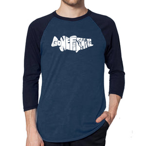 LA Pop Art Men's Raglan Baseball Word Art T-shirt - Bass - Gone Fishing