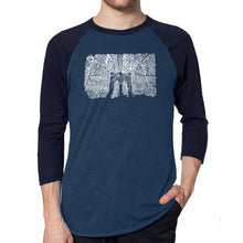 Load image into Gallery viewer, LA Pop Art Men's Raglan Baseball Word Art T-shirt - Brooklyn Bridge