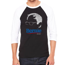 Load image into Gallery viewer, LA Pop Art Men's Raglan Baseball Word Art T-shirt - Bernie Sanders 2020