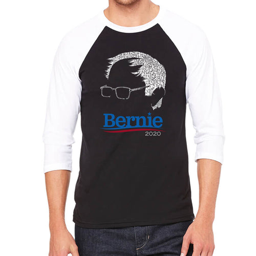 LA Pop Art Men's Raglan Baseball Word Art T-shirt - Bernie Sanders 2020
