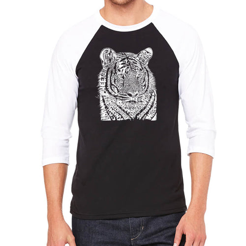 LA Pop Art Men's Raglan Baseball Word Art T-shirt - Big Cats
