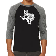 Load image into Gallery viewer, LA Pop Art Men's Raglan Baseball Word Art T-shirt - Everything is Bigger in Texas