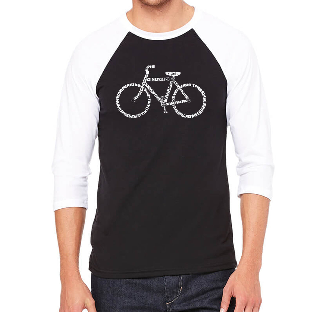 LA Pop Art Men's Raglan Baseball Word Art T-shirt - SAVE A PLANET, RIDE A BIKE