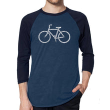 Load image into Gallery viewer, LA Pop Art Men's Raglan Baseball Word Art T-shirt - SAVE A PLANET, RIDE A BIKE