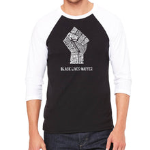 Load image into Gallery viewer, LA Pop Art Men's Raglan Baseball Word Art T-shirt - Black Lives Matter