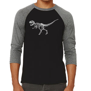 LA Pop Art Men's Raglan Baseball Word Art T-shirt - Dinosaur T-Rex Skeleton