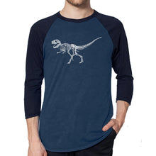 Load image into Gallery viewer, LA Pop Art Men's Raglan Baseball Word Art T-shirt - Dinosaur T-Rex Skeleton
