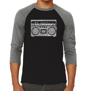 LA Pop Art Men's Raglan Baseball Word Art T-shirt - Greatest Rap Hits of The 1980's
