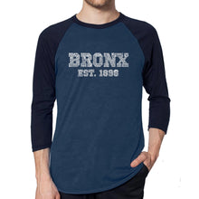 Load image into Gallery viewer, LA Pop Art Men's Raglan Baseball Word Art T-shirt - POPULAR NEIGHBORHOODS IN BRONX, NY
