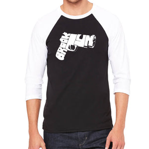 LA Pop Art Men's Raglan Baseball Word Art T-shirt - BROOKLYN GUN