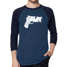 Load image into Gallery viewer, LA Pop Art Men's Raglan Baseball Word Art T-shirt - BROOKLYN GUN