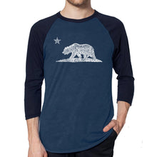Load image into Gallery viewer, LA Pop Art Men's Raglan Baseball Word Art T-shirt - California Bear