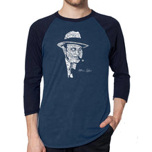 Load image into Gallery viewer, LA Pop Art Men's Raglan Baseball Word Art T-shirt - AL CAPONE-ORIGINAL GANGSTER