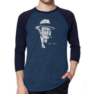 LA Pop Art Men's Raglan Baseball Word Art T-shirt - AL CAPONE-ORIGINAL GANGSTER