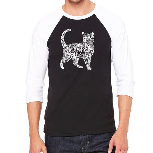 LA Pop Art Men's Raglan Baseball Word Art T-shirt - Cat