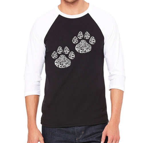 LA Pop Art Men's Raglan Baseball Word Art T-shirt - Cat Mom