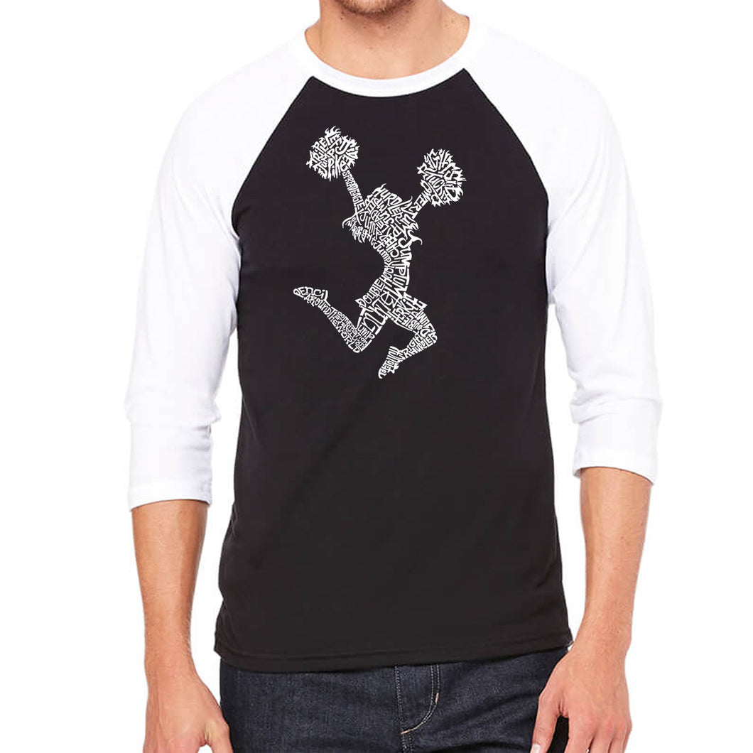 LA Pop Art Men's Raglan Baseball Word Art T-shirt - Cheer